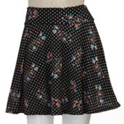 Lily Rose Polka Dot Floral A-Line Skirt - Juniors