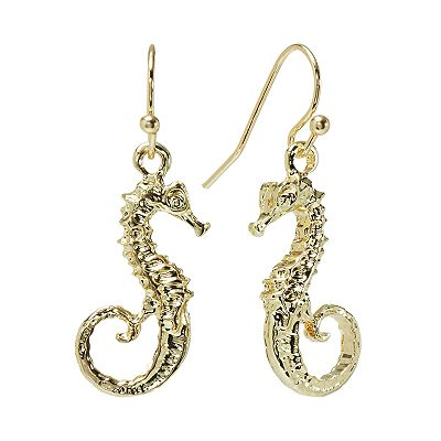 LC Lauren Conrad Gold Tone Seahorse Drop Earrings