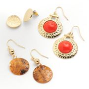 SONOMA life + style Gold Tone Bead and Textured Button Stud and Drop Earring Set