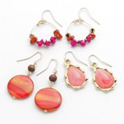 SONOMA life + style Gold Tone Bead Hoop Drop, Drop and Teardrop Earring Set