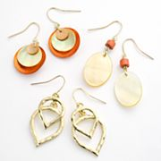 SONOMA life + style Gold Tone Double Teardrop, Disc and Oval Drop Earring Set