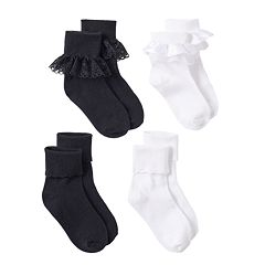 Girls Trimfit 4 pkLace Turn-Cuff Socks