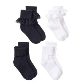 Girls Trimfit 4-pk. Lace Turn-Cuff Socks