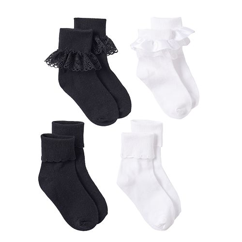 Girls Trimfit 4-pk. Lace Turn-Cuff Socks