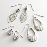 SONOMA life + style Silver Tone Simulated Crystal Filigree and Hammered Drop Earring Set