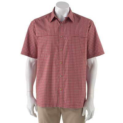 Arrow Double-Pocket Traveler Plaid Performance Button-Down Shirt - Big and Tall