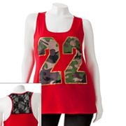 Derek Heart Numbered Lace Racerback Tank - Juniors' Plus