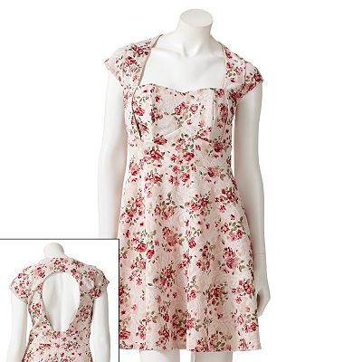 HeartSoul Floral Open Back Dress - Juniors
