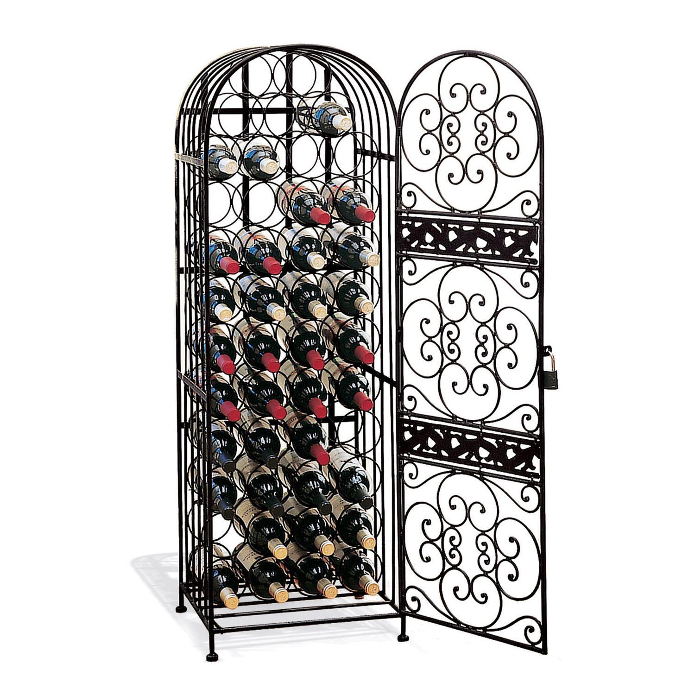 wine enthusiast 45 bottle wrought iron wine rack rh kohls com Small Wine Cabinet wrought iron wooden wine rack cabinet buffet bar table