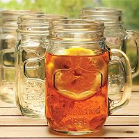 Wine Enthusiast 4 pc Mason Jar Glass Set