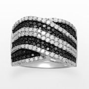 Sterling Silver 1-ct. T.W. Black and White Diamond Crisscross Ring