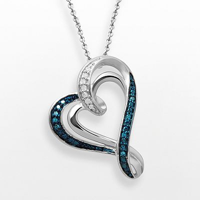 Sterling Silver Blue and White Diamond Accent Heart Pendant