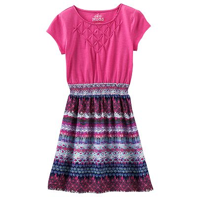 Mudd Abstract Smocked Dress - Girls Plus