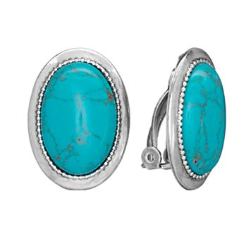 Chaps Silver Tone Simulated Turquoise Oval Frame Clip-On Earrings