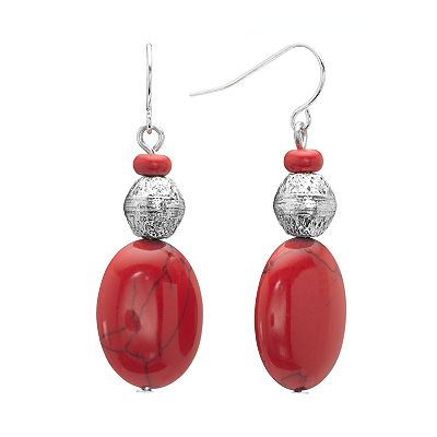 Chaps Silver Tone Simulated Coral Drop Earrings