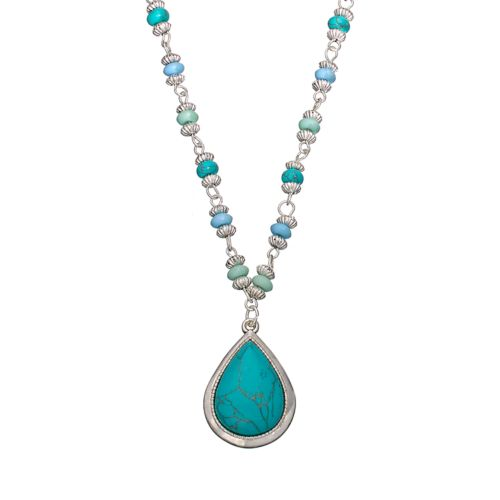 Chaps Silver Tone Simulated Turquoise Teardrop Pendant