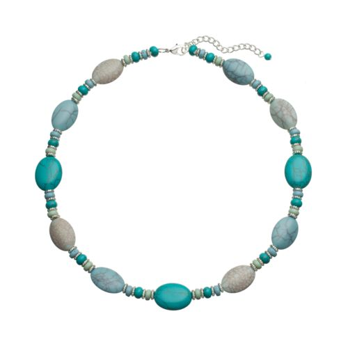 Chaps Silver Tone Bead Necklace