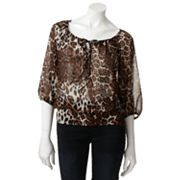 HeartSoul Sheer Animal Peasant Top - Juniors
