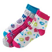 SONOMA life + style 3-pk. Floral and Bird 1/4-Crew Socks - Girls