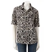 Croft and Barrow Ikat Button-Tab Shirt