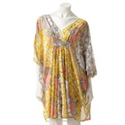 Jennifer Lopez Scroll Chiffon Caftan Dress