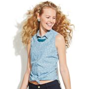 SO Chambray Tie-Front Sleeveless Top - Juniors