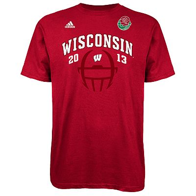 adidas Wisconsin Badgers 2013 Rose Bowl Game Helmet Tee - Men