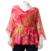 Jennifer Lopez Printed Sequin Poncho Top - Women's Plus