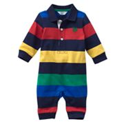 Chaps Striped Polo Coverall - Baby