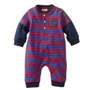 Chaps Striped Mock-Layer Coverall - Baby