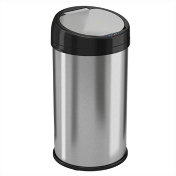 iTouchless 13-Gallon Round Extra Wide Stainless Steel Automatic Sensor Touchless Trash Can
