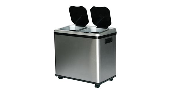 Itouchless 16 Gallon Dual Compartment Stainless Steel