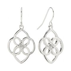 Chaps Silver Tone Simulated Crystal Filigree Drop Earrings
