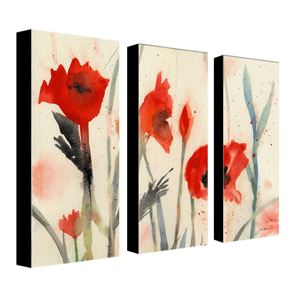 """Poppies"" 3-pc. Wall Art Set by Sheila Golden"