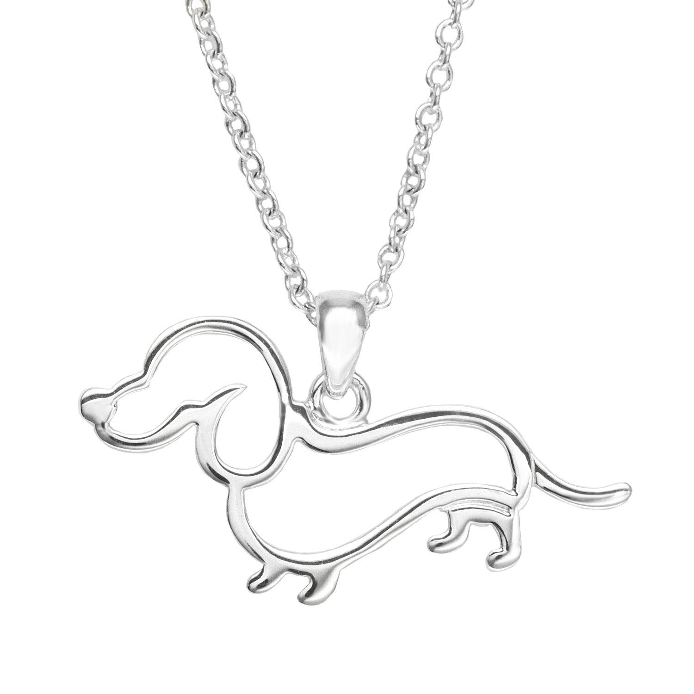 silver plate openwork dachshund pendant