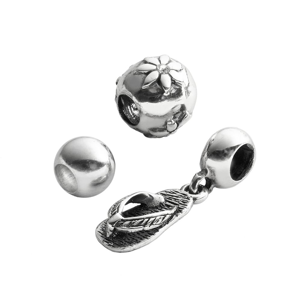 Individuality Beads Sterling Silver Crystal Flower, Flip Flop Charm & Round Spacer Bead Set