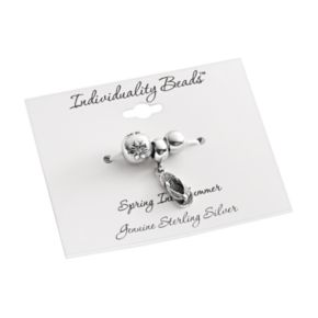 Individuality Beads Sterling Silver Crystal Flower, Flip Flop Charm and Round Spacer Bead Set