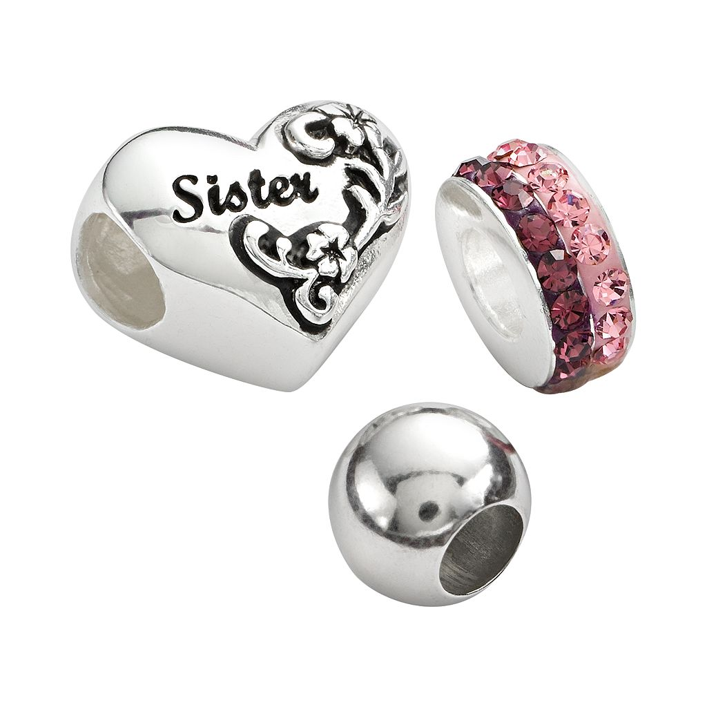 Individuality Beads Sterling Silver Crystal Spacer, Round Spacer & Sister Heart Bead Set
