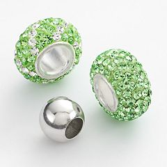 Individuality Beads Sterling Silver Crystal, Striped & Round Spacer Bead Set