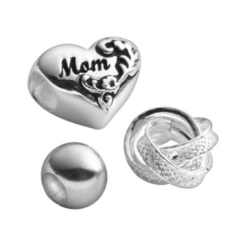 Individuality Beads Sterling Silver Mom, Textured Knot and Round Spacer Bead Set
