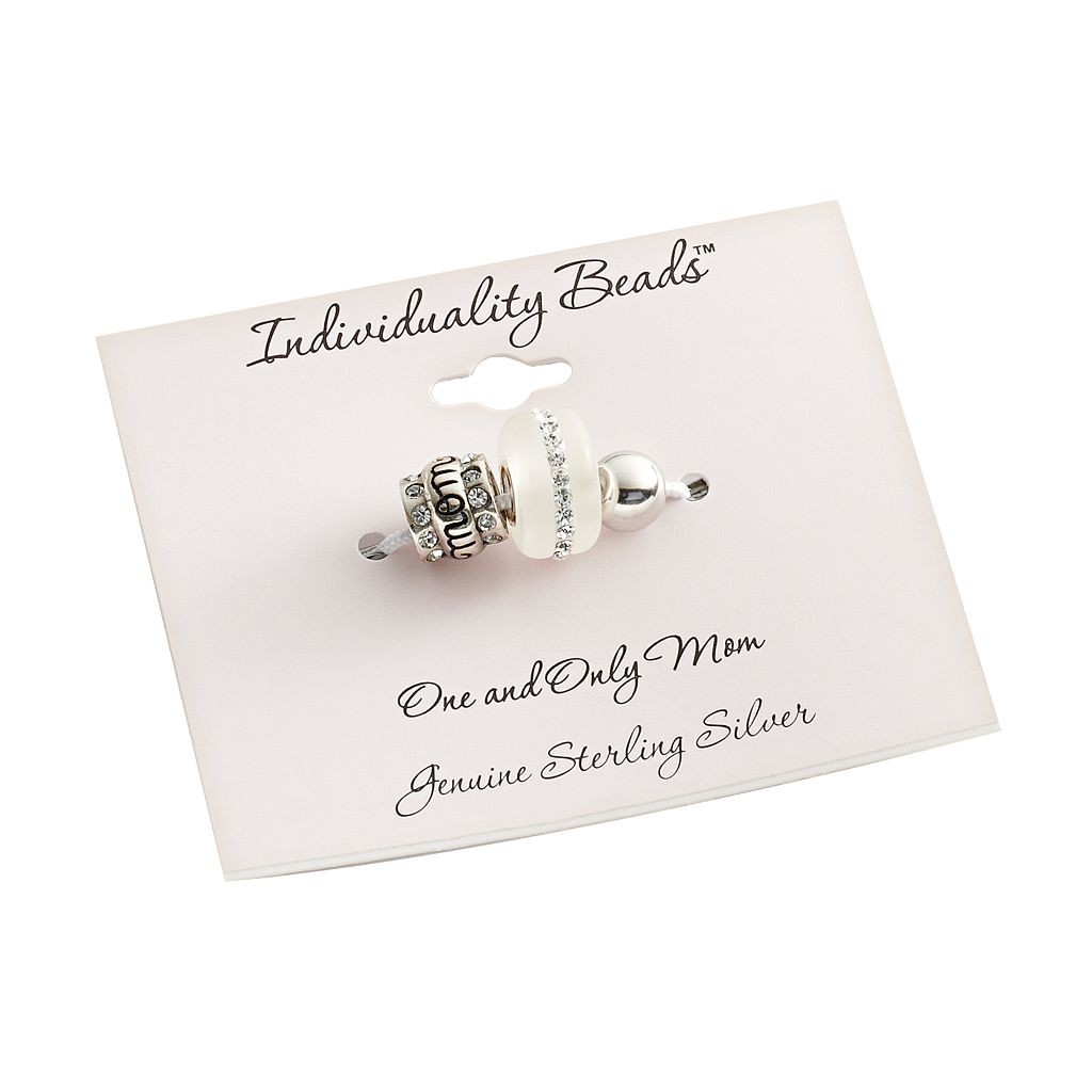 Individuality Beads Sterling Silver Crystal Mom, Frosted Glass and Round Spacer Bead Set