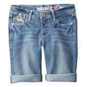Hydraulic Embroidered Denim Bermuda Shorts - Girls 7-16