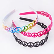Peace Sign 3-pk. Headbands - Girls