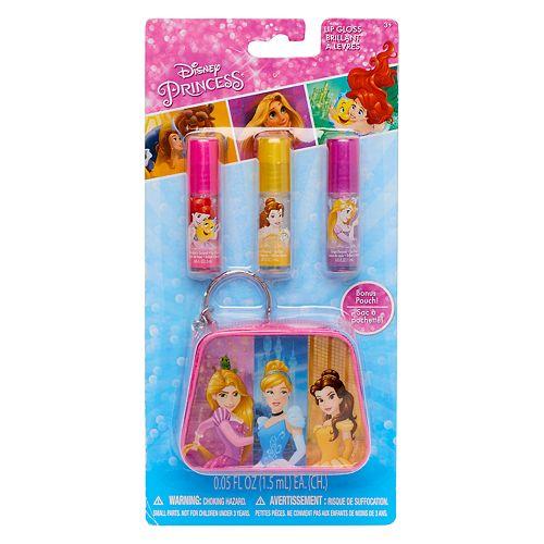 Disney Princess Rapunzel, Cinderella & Belle Girls Lip Gloss & Pouch Set