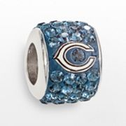 LogoArt Chicago Bears Sterling Silver Crystal Logo Bead - Made with Swarovski Elements