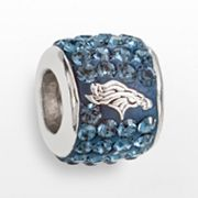 LogoArt Denver Broncos Sterling Silver Crystal Logo Bead - Made with Swarovski Elements