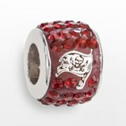 LogoArt Tampa Bay Buccaneers Sterling Silver Crystal Logo Bead - Made with Swarovski Elements
