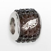 LogoArt Philadelphia Eagles Sterling Silver Crystal Logo Bead - Made with Swarovski Elements