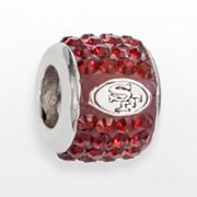 LogoArt San Francisco 49ers Sterling Silver Crystal Logo Bead - Made with Swarovski Elements