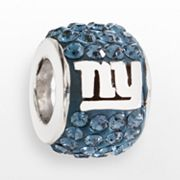 LogoArt New York Giants Sterling Silver Crystal Logo Bead - Made with Swarovski Elements
